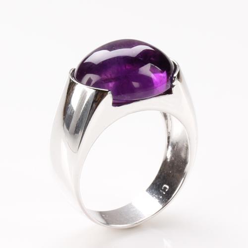 【寶石方塊】天然紫水晶戒指-925銀飾-紫芝眉宇/