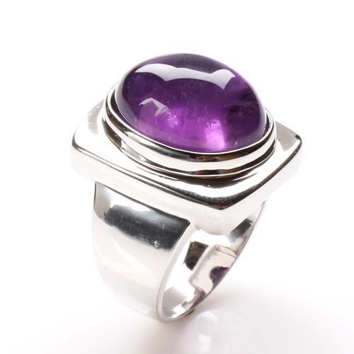 【寶石方塊】天然紫水晶戒指-925銀飾-金印紫授/
