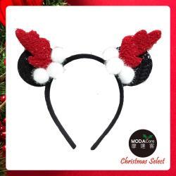 摩達客耶誕-米妮紅黑鹿角髮箍