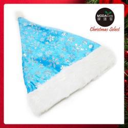 摩達客耶誕派對-浪漫雪花冰藍毛邊聖誕帽