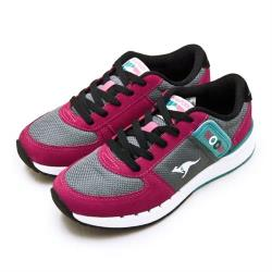 【KangaROOS】女 經典復刻慢跑鞋 COMBAT紅標袋鼠鞋系列(桃灰黑 91053)