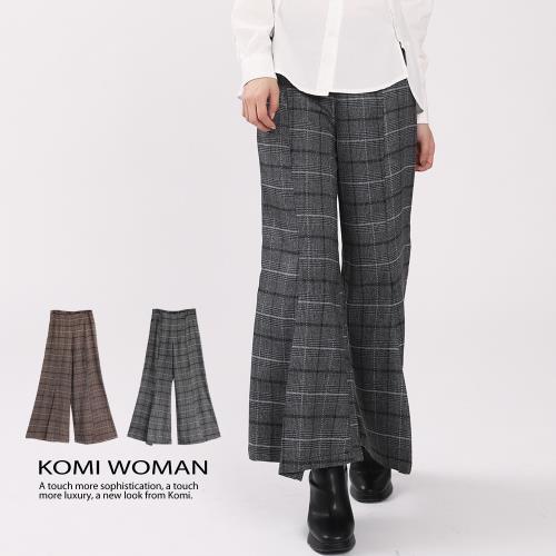【KOMI】英國格紋毛料打褶寬褲