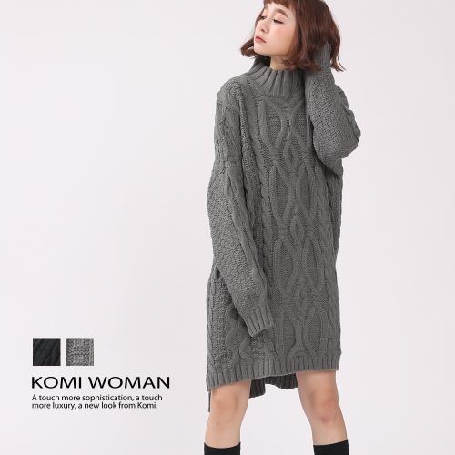 【KOMI】粗針手鉤感麻花辮毛線針織洋裝‧二色/