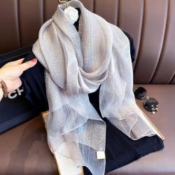 MONS蠶絲羊毛金紗織格紋薄款圍巾(2色任選)