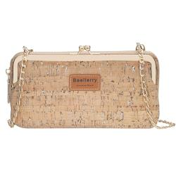 【L.Elegant】時尚復古印花皮革金屬鏈條手機斜揹包B960 (共二色)