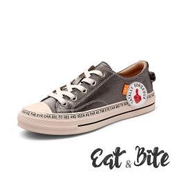【E&B】潮流貼布復古時尚造型休閒帆布鞋 灰