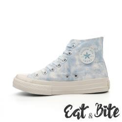 【E&B】馬卡龍色系雲彩暈染造型高筒休閒厚底帆布鞋 藍