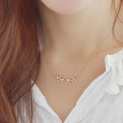 【Emi艾迷】韓國翩若姿態枝葉鑲鑽鋯石鎖骨鍊項鍊