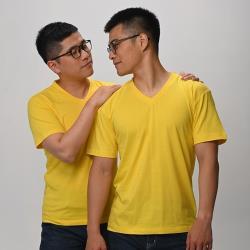 【Sexii】兩件組(S-2XL)_流行經典V領 短T恤_黃