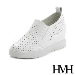 【HMH】真皮時尚縷空水玉洞洞透氣內增高厚底樂福鞋 白