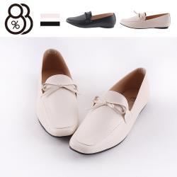 【88%】1cm休閒鞋 MIT台灣製 優雅氣質蝴蝶結 皮革平底方頭包鞋 休閒皮鞋 OL上班族