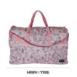 (HAPI+TAS)日本摺疊旅行袋 收納袋 開學袋(H0004-大-森林粉紅)