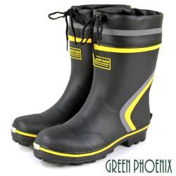 GREEN PHOENIX 反光式束帶雨靴鋼頭安全工作鞋(男鞋)S-00038