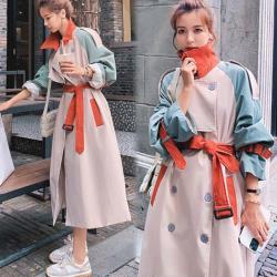 【KEITH-WILL】(預購)英倫風撞色寬鬆長版風衣外套