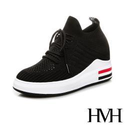 【HMH】美腿內增高時尚飛織縷空綁帶設計造型厚底休閒鞋 黑