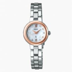 SEIKO 精工 LUKIA V117-0EF0KS 菱格紋白蝶貝面太陽能腕錶 (SSVR134J)