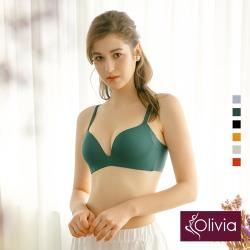 Olivia【曖昧系列-冰淇淋戀人】無鋼圈飽和純度PLUS+一片式內衣-墨綠