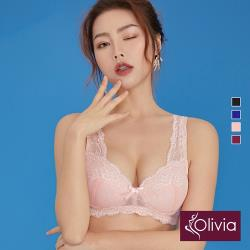 【Olivia】無鋼圈超薄透舒蕾絲內衣-粉色