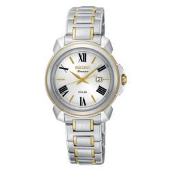 SEIKO精工 Premier 羅馬太陽能女錶-珍珠貝x雙色/32mm(SUT346J1/V137-0CT0G)