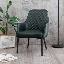 Boden-羅達工業風墨綠色皮革扶手休閒椅/餐椅/單椅