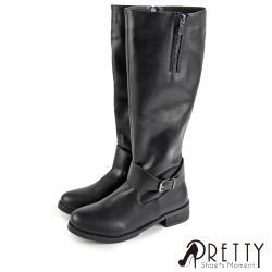 Pretty 大尺碼-騎士風範素面皮革釦帶側拉鍊低跟長靴BA-2H205