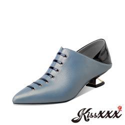 【Kissxxx】全真皮兩穿法撞色拼接復古尖頭酒杯跟美腿效果高跟踝靴 藍