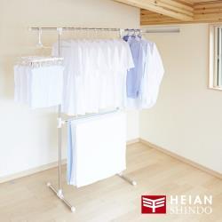 日本 平安伸銅 免工具T型不銹鋼伸縮桿室內曬衣/被架 MC-50