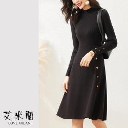 【艾米蘭】韓版簡約排扣造型洋裝(S~L)