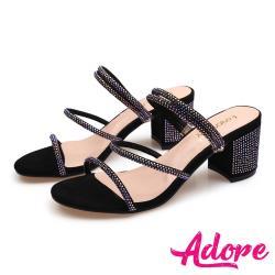 【ADORE】兩穿法唯美線繩燙鑽一字帶造型粗跟涼拖鞋 黑