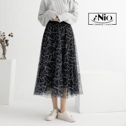 【iNio】時尚多層次斜紋網紗撞色鬆緊腰長裙(S-L適穿)-現貨快出【C0W2174】