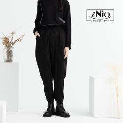 【iNio】時尚窄管鬆緊腰飛鼠哈倫褲休閒長褲-現貨快出【C0W2168】