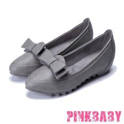 【PINKBABY】質感皮革時尚內增高立體蝴蝶結飾平底便鞋 灰