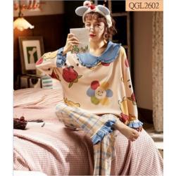 GIFT-公主風娃娃領長袖套頭卡通棉質女家居服套裝