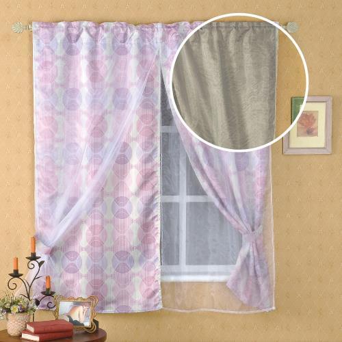 雲傢 和風雙層半腰遮光窗簾 多款可選