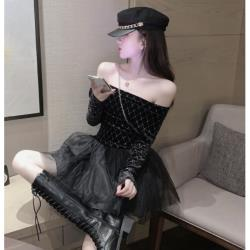 黑色性感一字露肩網紗拼接蓬蓬裙連衣裙