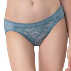思薇爾 花羽系列M-XL蕾絲低腰三角內褲(千草藍)