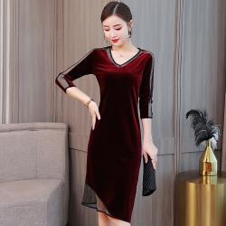 最水-優雅V領絲絨五分袖套頭洋裝