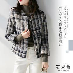 【艾米蘭】韓版圓領格紋排扣毛呢(M~XL)