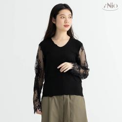 【iNio】蕾絲袖長袖上衣打底衣內搭上衣 -現貨快出【C0W1249】