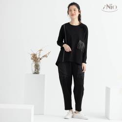 【iNio】流蘇設計長袖上衣圓領上衣(S-L適穿)-現貨快出【C0W1200】