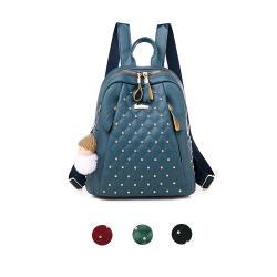 【lapagayo】時尚元素鉚釘菱格後背包-預購