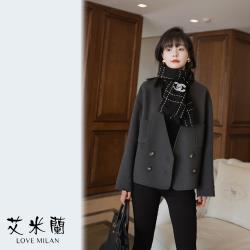 【艾米蘭】韓版V領毛呢排扣外套 (M~XL)