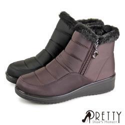 Pretty 防潑水暖心內刷毛拉鍊小坡跟短靴/雪靴BA-28990