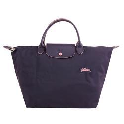 LONGCHAMP-LE PLIAGE 刺繡小馬logo短把尼龍手提包(深紫)M