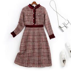 麗質達人 - 11299毛呢假二件洋裝