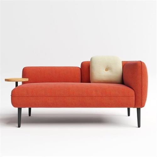 hoi! 林氏木業北歐小戶型左扶手雙人布沙發 S026-橘紅色