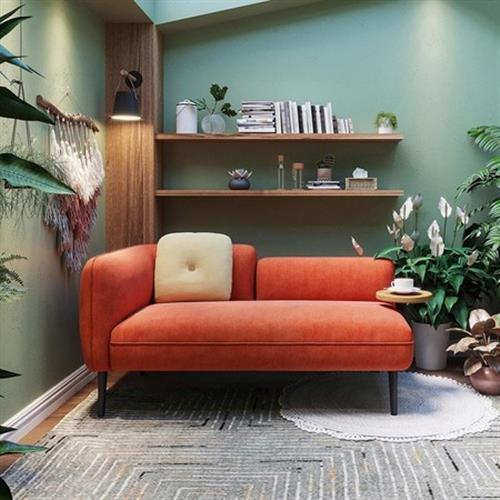 hoi! 林氏木業北歐小戶型右扶手雙人布沙發 S026-橘紅色