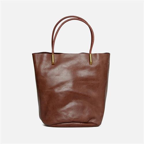 【米蘭精品】手提包真皮水桶包-復古通勤牛皮子母包6色73zo19/