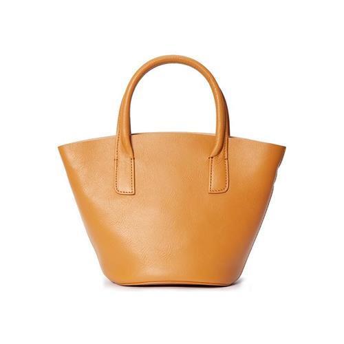 【米蘭精品】手提包真皮水桶包-牛皮肩背復古簡約2色73zo32/