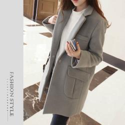 【GF 快時尚】簡約翻領口袋毛呢大衣(S-XL)